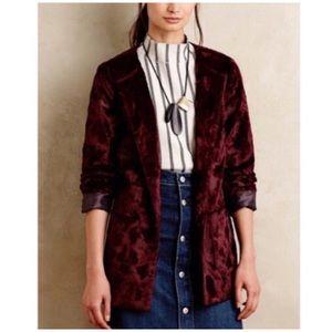Anthro | Burgundy Tabitha Talley Faux Fur Jacket